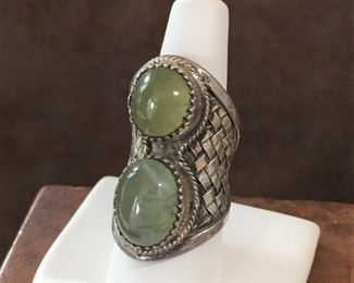 Size 7 1/2 massive woven sterling silver saddle ring featuring two  gorgeous smooth prehnite cabochons. STUNNING!  $226
