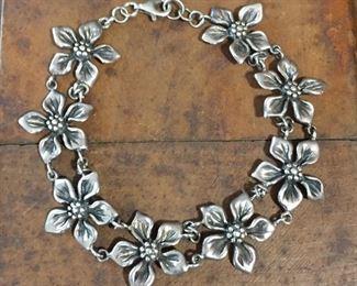 "Sterling silver flower link bracelet. 7 1/2"", stamped 925 THAI.  Perfect for summer  $80"