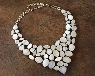 """Drop-dead gorgeous druzy bib necklace in shades of champagne, cream, pastel gray! Featuring 59 druzy stones set in sterling silver, finished with thick sterling silver chain and clasp.  Adjustable from 16""""-22"""" Long.   Definite statement piece.  $268"""