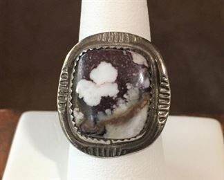 Gorgeous big wild horse stone & sterling silver Native American ring.  Size 8.  Signed CT and stamped STERLING on back.   $168