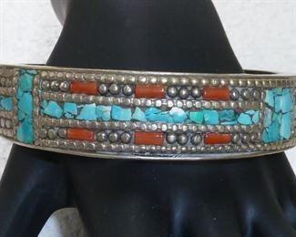 Big chunky Tibetan turquoise, coral and silver bangle bracelet.  $244