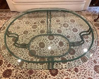 "Glass top coffee table made in Italy - dimensions 53""x42"" - Price $750"