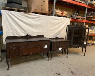 Turn of the century dinning room trio.  Mahogany side boards and china cabinet. $1,250