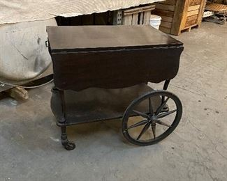 Antique cherry teacart. $75