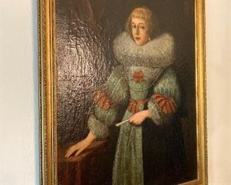 Oil painting of Scottish Lady of Royalty late 15th early 16th century.