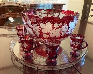Hand etched cranberry punch bowl set
