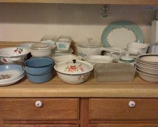 Enamel & vintage refrigerator dishes