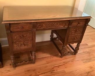 001 Antique Glass Top Carved Wooden Desk