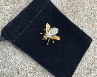 003 Diamond and Ruby 14k Yellow Gold Bee Pin