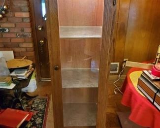 Wooden Display Cabinet with Etched Glass Shelves