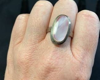 Sterling Silver Ring with Pink Stone Marked 925