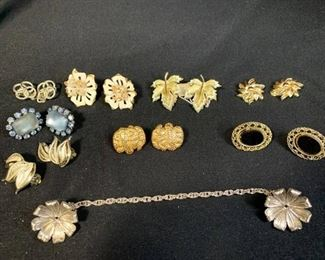 Lot of Vintage Costume Earrings and Sweater Clip