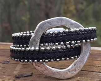 Black beaded leather with silver 0 accent and magnetic clasp.  Cost 55.  Email or call DesignbyJeffJewelry@gmail.com