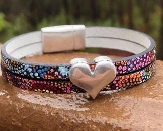 Firecracker leather 5 mm double strand with heart and magnetic clasp for 32.  Call or email: DesignsbyJeffJewerly@gmail.com