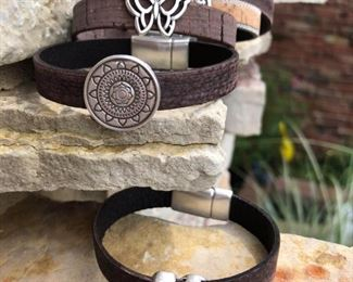 These 5 bracelets are all 32 each.  The are leather with strong magnetic clasps.   Email or Call to buy and for sizing.  Designsbyjeffjewerly@gmail.com. (815) 519.7653