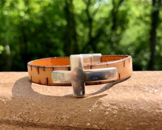 Leather Cross Bracelet with strong magnetic clasp.  Call or email for more info.  DesignsbyJeffJewelry@gmail.com. 815.519.7653