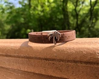 Leather bracelet with silver palm tree charm and strong magnetic clasp.  Call or email for more info.  DesignsbyJeffJewelry@gmail.com. 815.519.7653