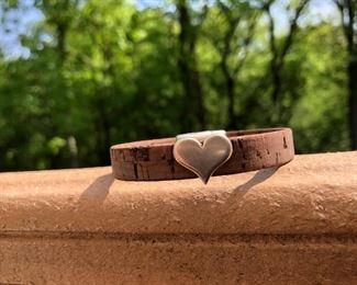 Heart charm on leather bracelet with strong magnetic clasp 32.  Call or email for more info.  815.519.7653 DesignsbyJeffJewelry@gmail.com
