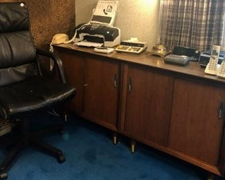 credenza, executive office chair, computers, office equipment
