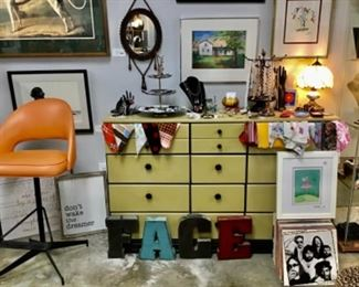 Chest of Drawers, Vintage and artisan jewelry, LPs, mid century chrome and Naugahyde chair, art
