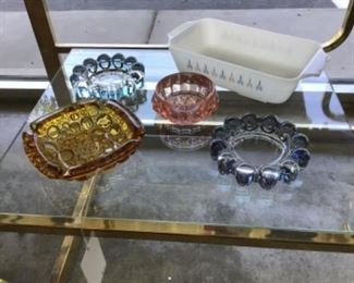 Vintage ashtrays, Pyrex, etc