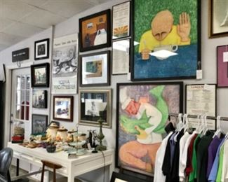 Emilianos art, clothing, animal art, mid century furniture and smalls
