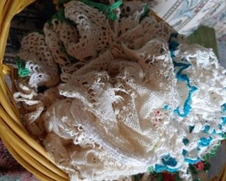 basket filled with doilies