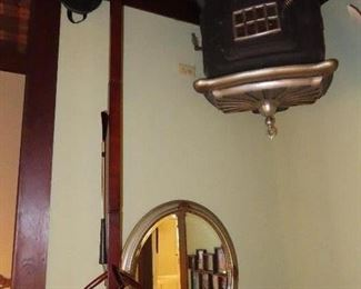 Vintage Oak Hat Rack - Oval Mirror - Another picture of antique stove