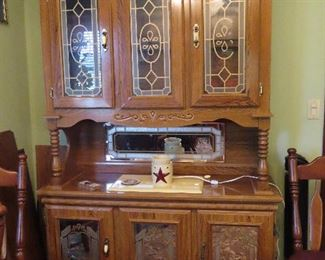 Oak Sideboard with Stain Glass Panels