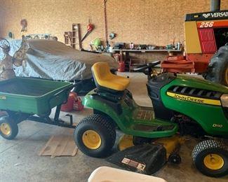 John Deer 100 series D110 (309 hours) mower and 8 yard pull cart