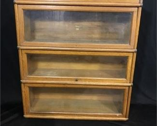 Lot 71 Macey's 3-Tier Barrister Bookcase '910' Finish 9 w/ glass sliding doors