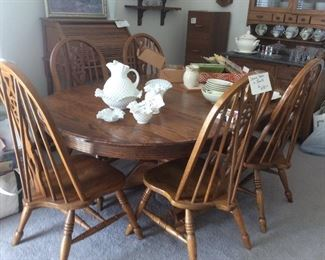 Large country style dining table, 6 chairs NOW $150