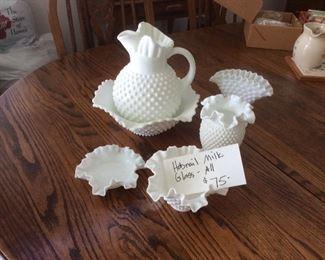 Vintage milk glass hobnail set