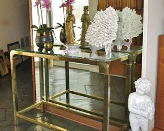 Brass & Beveled Glass Sofa / Console table by Mastercraft - $750