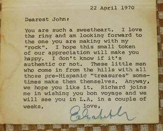 Personal Note from Elizabeth Taylor