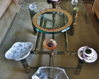 Baccarat Angled Bowl - $100; 19th. C. Chinese Famile rose Quatrefoil Dish - $200; Heavy Glass Charger w/ Gold-Key Rim - $65; Coalport Lighter Set - $45;  Chinese Center Bowl on Teak Stand - $125