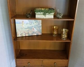 Rustic Wooden Bookcase with drawers on a metal stand