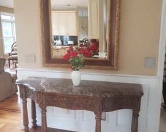 BERNHARDT ENTRANCE TABLE WITH MIRROR