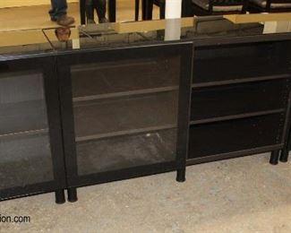 Lot 1004 3 Piece Black Glass Top Media Cabinet
