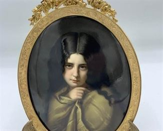 Antique Framed Porcelain Portrait