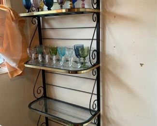Bakers Rack and Glassware