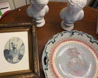 Bisque Busts, Plate, and More