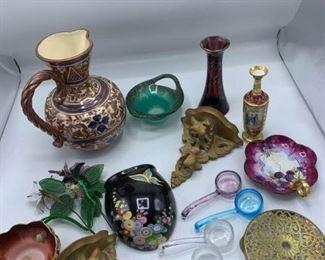 Brass, Glass, Porcelain, Wood
