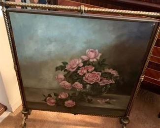 Canvas Painting of Roses in Brass Stand