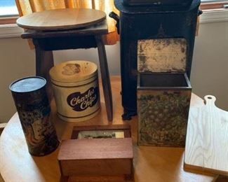 Coal Bin, Tin Containers, Old Stool