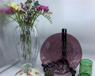Crystal Vase, Iris Plate, and Austria Vase