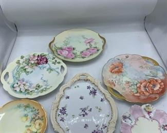Double Handle Cake Plates and Six Dessert Plates