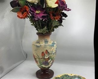 Hand Painted Vase and Plates