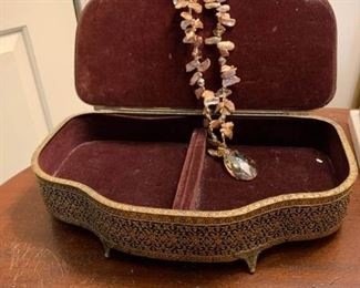 Jewelry Box with Four Rings and Necklace