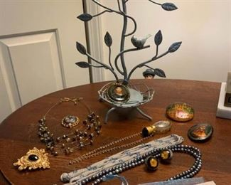 Jewelry Tree Russian Pins and Perfume Pendant